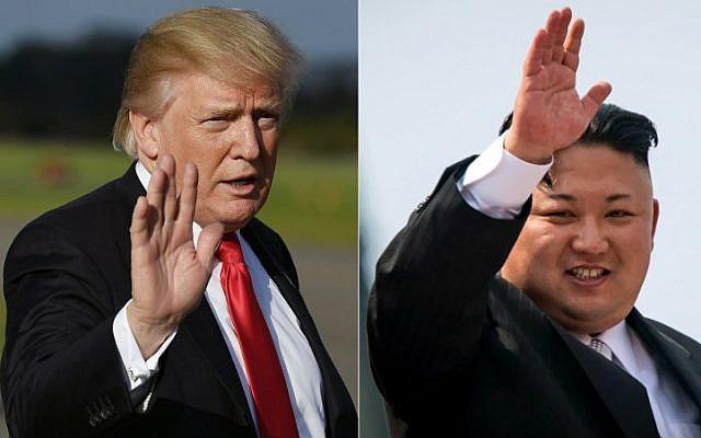 US President Donald Trump, left, and North Korean leader Kim Jong-Un. (Mandel Ngan and Ed Jones/AFP)