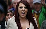 Deputy leader of the far-right organization Britain First, Jayda Fransen gestures as she participates in a march in central London on April 1, 2017. (AFP PHOTO / Daniel LEAL-OLIVAS)