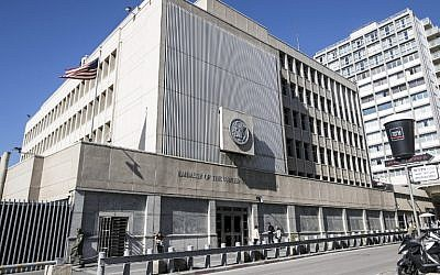 This file photo taken on January 20, 2017 shows the exterior of the US Embassy building in the Israeli coastal city of Tel Aviv. (AFP/JACK GUEZ)