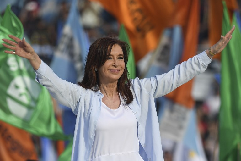 Argentina's former president and Buenos Aires senatorial candidate for the Unidad Ciudadana Party Cristina Fernandez de Kirchner waving to supporters at Juan Domingo Peron stadium in Avellaneda Buenos Aires