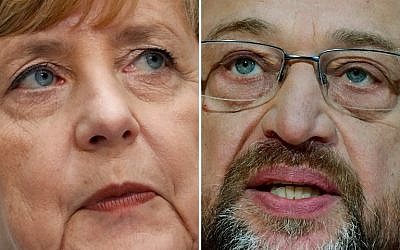 This combination of file photos on December 1, 2017 shows German Chancellor Angela Merkel (L) and Martin Schulz, leader of Germany's social democrat SPD party. (AFP/Odd Andersen, AFP/Tobias Schwarz)