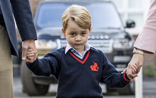 This file photo taken on September 7, 2017, shows Britain's Prince George arriving for his first day of school at Thomas's school in southwest London. (AFP/Pool/Richard Pohle)
