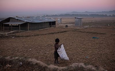 A Rohingya boy gathers grass stalks at the Naybara refugee camp, in Cox's Bazar on December 3, 2017. (AFP Photo/Ed Jones)