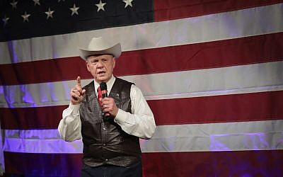 Roy Moore, the Republican candidate for the US Senate in Alabama, speaks at a campaign rally  in Fairhope, Alabama, on September 25, 2017. (AFP Photo/Getty Images North America/Scott Olson)