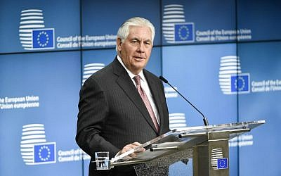 US Secretary of State Rex Tillerson speaks during a joint press conference with EU foreign policy chief at the European Union Council building in Brussels on December 5, 2017. (AFP PHOTO / JOHN THYS)