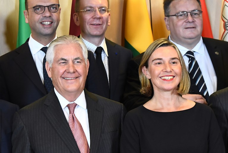In Talks With Tillerson, Mogherini Urges US To Support Iran Nuclear Deal