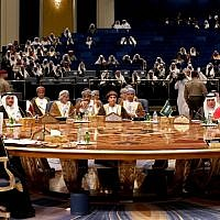A general view of the GCC leaders attending the Gulf Cooperation Council (GCC) summit at Bayan palace in Kuwait City on December 5, 2017. (AFP/ GIUSEPPE CACACE)