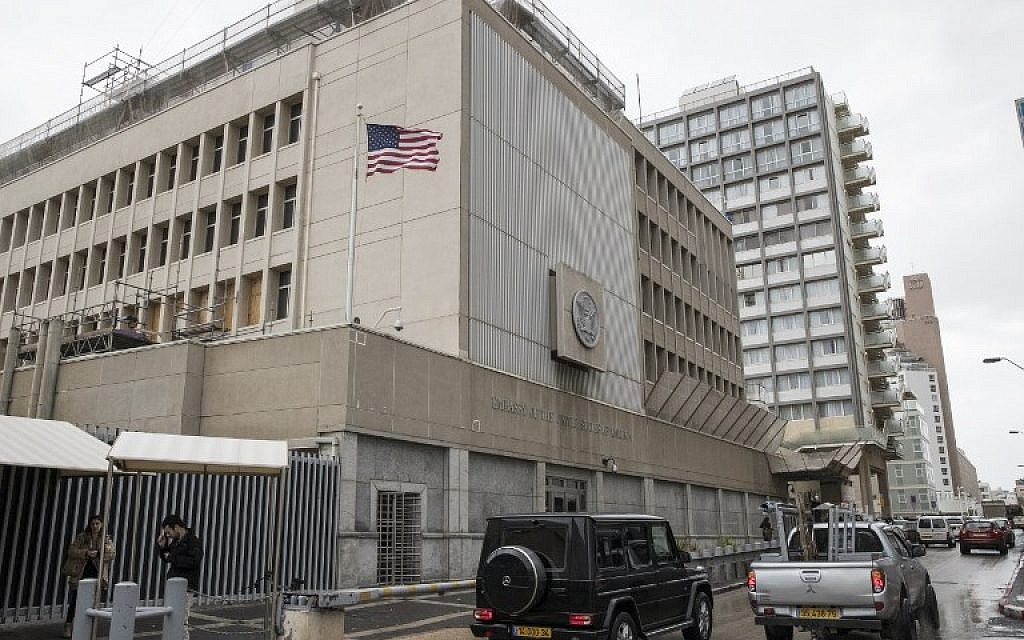 A photo of the US embassy in Tel Aviv, on December 6, 2017. (AFP Photo/Jack Guez)