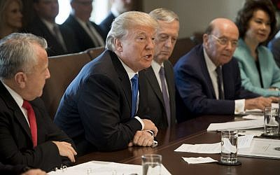 US President Donald Trump, center, holds a Cabinet Meeting in the Cabinet Room at the White House in Washington, DC, December 6, 2017. (Saul Loeb/AFP)