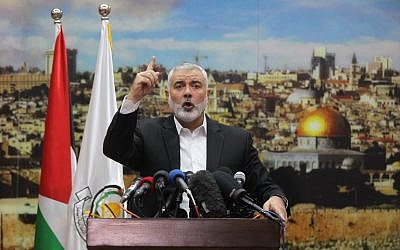 Hamas leader Ismail Haniyeh gestures as he delivers a speech over US President Donald Trump's decision to recognize Jerusalem as the capital of Israel, in Gaza City, December 7, 2017. (SAID KHATIB/AFP)