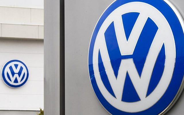 The logo of German car maker Volkswagen (VW) at a northern Virginia dealer in Woodbridge, Virginia. (AFP PHOTO / PAUL J. RICHARDS)