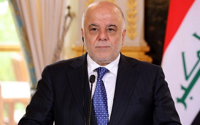 This photo taken on October 5, 2017 shows Iraqi Prime Minister Haider al-Abadi giving a press conference in Paris. ( AFP PHOTO / POOL / ludovic MARIN)