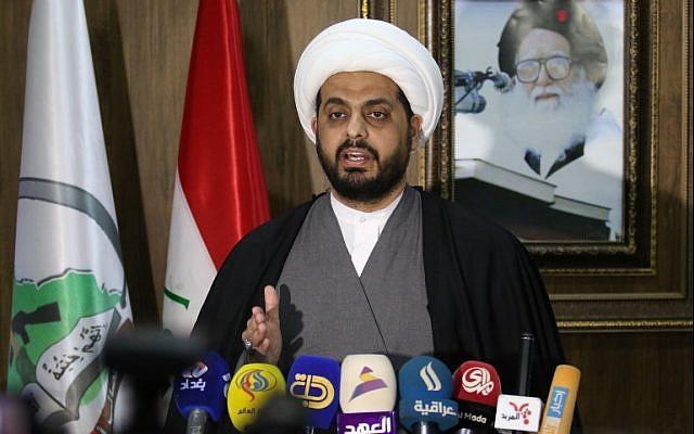 This file photo taken on January 8, 2016 shows Qais Al-Khazali, the head of the Iraqi Asaib Ahl al-Haq militia, speaking at a press conference in the southern Iraqi city of Basra. (AFP Photo/Haidar Mohammed Ali)