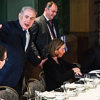 Israeli Prime Minister Benjamin Netanyahu gestures during a breakfast meeting with EU foreign ministers at the EU Council building in Brussels on December 11, 2017. (AFP PHOTO / POOL / Geert Vanden Wijngaert)