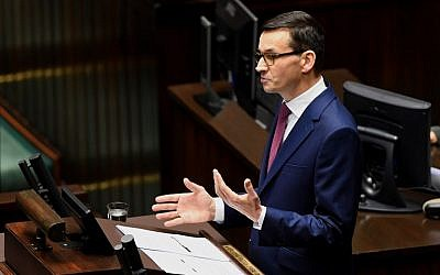 Incoming Polish Prime Minister Mateusz Morawiecki gives a speech to lawmakers at the parliament in Warsaw on December 12. (AFP Photo/Janek Skarzynski)