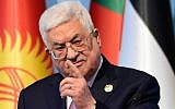 Palestinian Authority President Mahmoud Abbas speaks at a press conference in Istanbul, December 13, 2017. (AFP/Yasin Akgul)