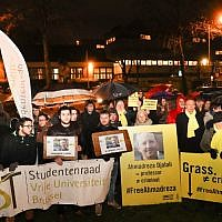 A rally at the Iranian embassy in Brussels, in support of Ahmadreza Djalali, after Iran's Supreme Court upheld the death sentence handed to the Iranian-born Swedish resident and specialist in emergency medicine, on December 14, 2017. (AFP PHOTO / BELGA AND Belga / VIRGINIE LEFOUR)