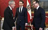 (L-R) Austria's President Alexander Van der Bellen, Leader of Austria's conservative People's Party (OeVP), Sebastian Kurz and the Chairman of the Freedom Party (FPOe), Heinz-Christian Strache are seen prior talks at the Hofburg in Vienna, Austria, on December 16, 2017. (AFP PHOTO / APA / HANS PUNZ )