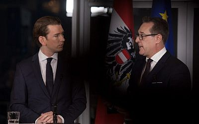 Future Austrian Chancellor Sebastian Kurz (L) of the conservative People's Party (OeVP) and incoming vice-chancellor Heinz-Christian Strache of the far-right Freedom Party (FPOe) give a joint press conference to unveil their joint programme on December 16, 2017 in Vienna, Austria. (AFP PHOTO / ALEX HALADA)