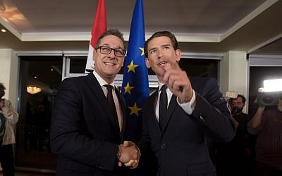 Future Austrian Chancellor Sebastian Kurz (L) of the conservative People's Party shakes hands with incoming vice-chancellor Heinz-Christian Strache of the far-right Freedom Party during a joint press conference to unveil their joint program on December 16, 2017 in Vienna, Austria.  (AFP PHOTO / ALEX HALADA)