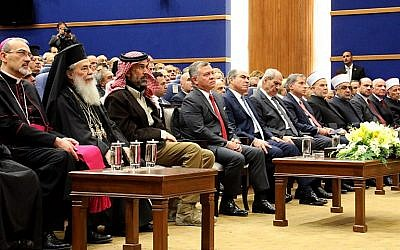 King Abdullah II of Jordan, 4th from left, attends an event with Christian leaders from various churches at the Baptism Site Convention Center in Jordan, December 17, 2017. (AMEL PAIN/AFP)