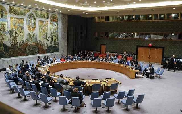 Illustrative: A general view of the UN Security Council room during a meeting over the situation in the Middle East on December 18, 2017, at UN Headquarters in New York. (AFP Photo/Kena Betancur)