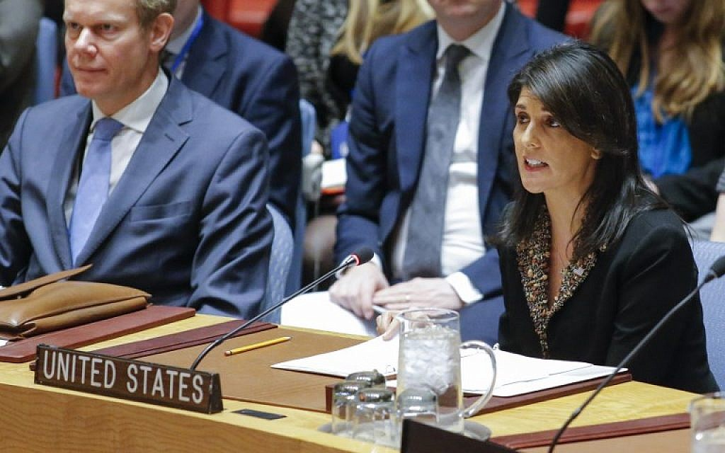 US Ambassador to the UN Nikki Haley (R) speaks during the UN Security Council meeting over the situation in the Middle East on December 18, 2017, at UN Headquarters in New York.  (AFP PHOTO / KENA BETANCUR)