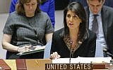 US Ambassador to the UN Nikki Haley speaks during a UN Security Council meeting on the Middle East on December 18, 2017, at UN Headquarters in New York. (AFP Photo/Kena Betancur)