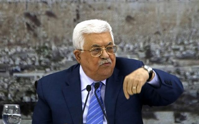File: Palestinian Authority President Mahmoud Abbas during a meeting of the Palestinian leadership in the West Bank city of Ramallah on December 18, 2017. (AFP Photo/Abbas Momani)