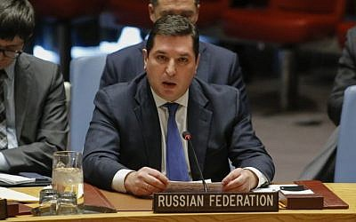 Russian Deputy Permanent Representative to the United Nations Vladimir Safronkov speaks during a UN Security Council meeting over the situation in the Middle East on December 18, 2017, at UN Headquarters in New York. (AFP PHOTO / KENA BETANCUR)