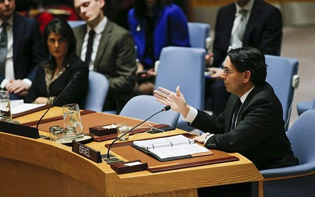 UN Ambassador Danny Danon of Israel speaks after a vote on a draft resolution that sough to reject US President Donald Trump's decision to recognize Jerusalem as the capital of Israel during a UN Security Council meeting over the situation in the Middle East on December 18, 2017, at UN Headquarters in New York. The United States vetoed the resolution (AFP PHOTO / KENA BETANCUR)