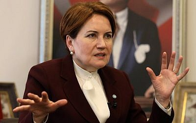 Turkey's Iyi ('Good') Party chairman Meral Aksener in her office in Ankara on December 15, 2017. (AFP Photo/Adem Altan)
