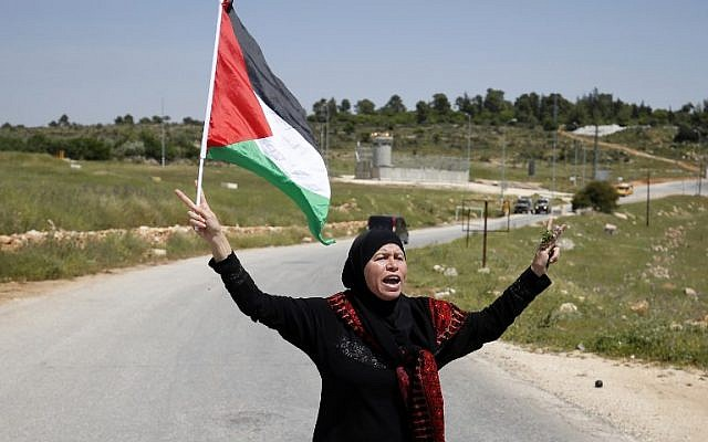 Nariman Tamimi holds a Palestinian flag during clashes with Israeli security forces following a march against land confiscation on April 15, 2016, in the West Bank village of Nabi Saleh near Ramallah.  (AFP PHOTO / ABBAS MOMANI)