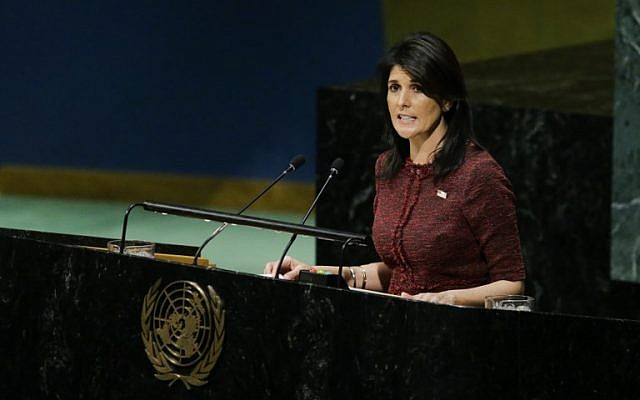 United States Ambassador to the United Nations, Nikki Haley, addresses the General Assembly prior to the vote on Jerusalem, on December 21, 2017, at UN Headquarters in New York. (AFP PHOTO / EDUARDO MUNOZ ALVAREZ)
