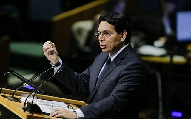 Israel envoy to the United Nations Danny Danon addresses the General Assembly prior to a vote on Jerusalem, on December 21, 2017, at UN Headquarters in New York. (AFP PHOTO / EDUARDO MUNOZ ALVAREZ)