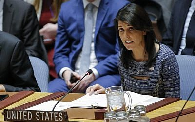 US Ambassador to the UN Nikki Haley speaks during a Security Council meeting  at UN Headquarters in New York City, on December 22, 2017. (KENA BETANCUR/AFP)