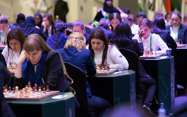 Participants attend the King Salman World Rapid and Blitz Championships, the first international chess competition held in Saudi Arabia, in the capital Riyadh on December 26, 2017. (AFP PHOTO / STRINGER)
