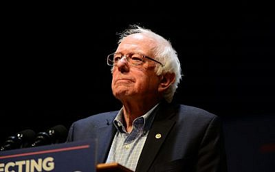 US Senator Bernie Sanders speaks on stage during the Protecting Working Families Rallyat Santander Performing Arts Center in Reading, Pennsylvania, December 3, 2017. (Lisa Lake/Getty Images for MoveOn.org/AFP)