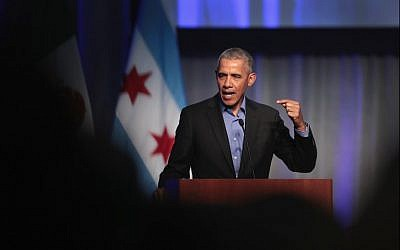Former US president Barack Obama speaks to a gathering of more than 50 mayors and other guests during the North American Climate Summit in Chicago on December 5, 2017. (Scott Olson/Getty Images/AFP)