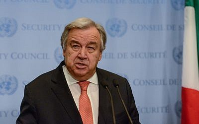 United Nations Secretary General Antonio Guterres delivers remarks to the press at the United Nations Headquarters on December 6, 2017 in New York City. (Stephanie Keith/Getty Images/AFP)