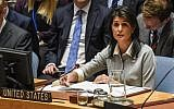 US Ambassador to the United Nations Nikki Haley delivers a speech during a United Nations Security Council meeting on December 8, 2017 in New York City (Stephanie Keith/Getty Images/AFP)