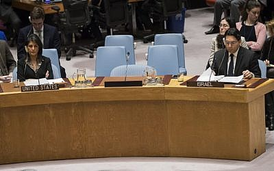US ambassador to the United Nations Nikki Haley, left, and Israeli ambassador to the United Nations Danny Danon at a UN Security Council meeting on December 18, 2017 in New York City. (Drew Angerer/Getty Images/AFP)
