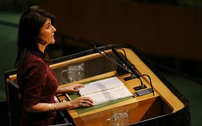 Nikki Haley, United States Ambassador to the United Nations, speaks on the floor of the General Assembly on December 21, 2017 in New York City. (Spencer Platt/Getty Images/AFP)