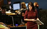 Nikki Haley, United States Ambassador to the United Nations, prepares to speak on the floor of the General Assembly on December 21, 2017 in New York City. (Spencer Platt/Getty Images/AFP)