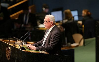 Palestinian Foreign Minister Riyad al-Malki speaks in the United Nations General Assembly on December 21, 2017, in New York City. (Spencer Platt/Getty Images/AFP)