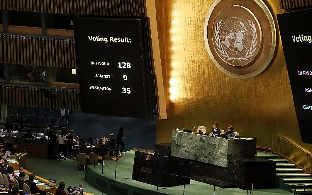 "The voting results are displayed on the floor of the United Nations General Assembly in which the United States declaration of Jerusalem as Israel's capital was declared ""null and void"" on December 21, 2017 in New York City. The vote, 128-9, at the United Nations concerned Washington's decision to recognize Jerusalem as Israel's capital and relocate its embassy there. (Spencer Platt/Getty Images/AFP)"