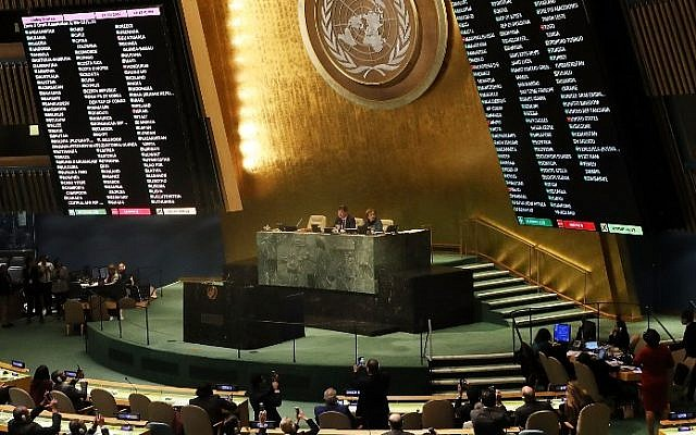 """The voting results are displayed on the floor of the United Nations General Assembly in which the United States declaration of Jerusalem as Israel's capital was declared """"null and void"""" on December 21, 2017 in New York City. Spencer Platt/Getty Images/AFP)"""