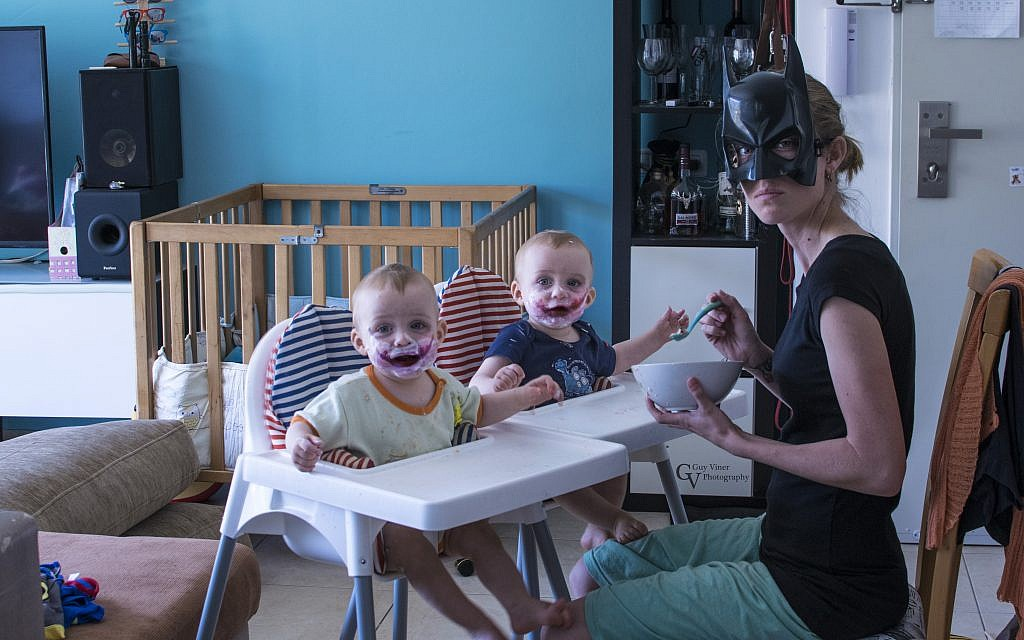 The Vainer twins as The Joker, with mom Dalit playing Batman (Courtesy Guy Vainer)