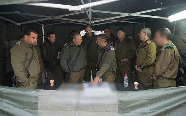 IDF Chief of Staff Gadi Eisenkot, center, meets with other top officers in the West Bank on December 6, 2017. (Israel Defense Forces)