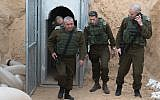 IDF Chief of Staff Gadi Eisenkot, left, visits an attack tunnel dug by a Palestinian terrorist group from the Gaza Strip into southern Israel during a visit to the area on December 20, 2017. (Israel Defense Forces)